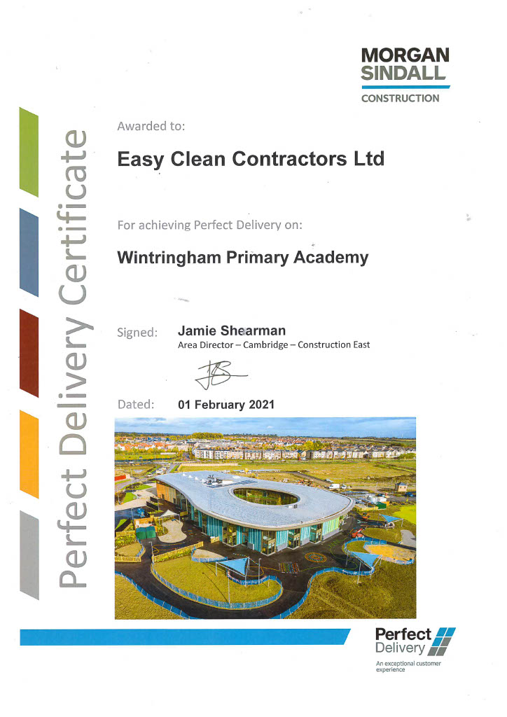 EC certificate for achieving perfect delivery at Wintringham Primary Academy